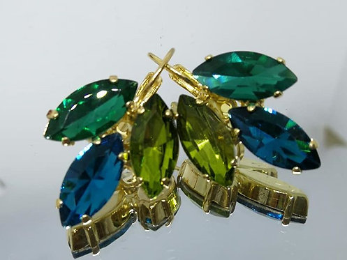 Model # 455 ירוק איזמרגד, טורקיז, ירוק זית  אבנים: קריסטל, מתנה לכלה, עגילי עלים, עגילי דמעה, עגילים בתליה, עגילי נשים,