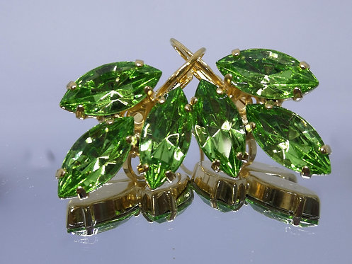 ירקרק בהיר  אבנים: סברובסקי  עגילי סברובסקי, מתנה בשבילה,Model # 476