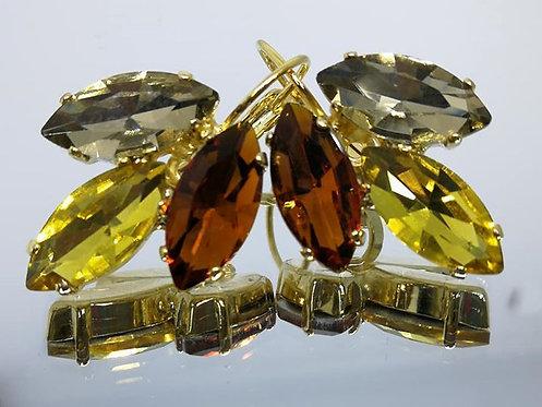 Model # 409 אפור כהה, צהוב, חום.  אבנים: קריסטלים שונים.  מתנה בשבילה, מתנה לכלה, עגילי עלים