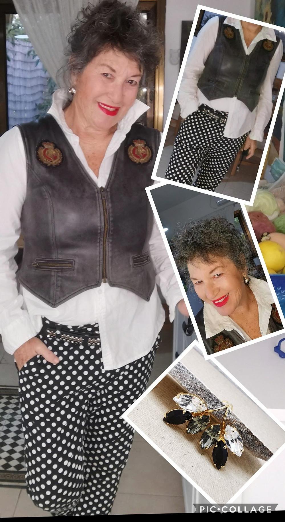 קולאג' של אירית דגמי מדגמנת שחור לבן עם עגילים בשחור לבן