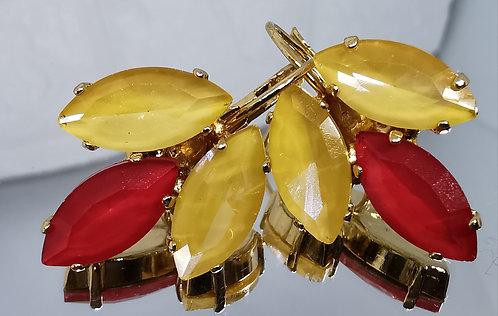 טופז מוזהב, אדום.  אבנים: קריסטל אקוורל.  מתנה בשבילה, מתנה לכלה # Model 732