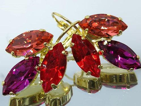 לוטוס, פוקסיה, אדום סיאם.  אבנים:סברובסקי.  מתנה בשבילה, עגילי סברובסקי Model # 451