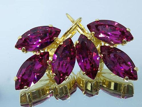 פוקסיה  אבנים: סברובסקי  מתנה בשבילה, מתנה לכלה, עגילי עלים Model # 411