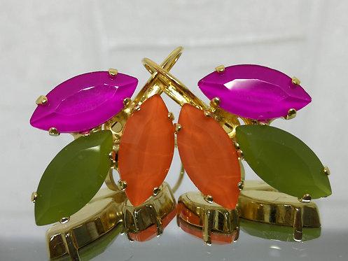 # Model 592 פוקסיה, זית וכתום  אבנים: קריסטלים שונים.  מתנה בשבילה, מתנה לכלה, עגילי עלים,