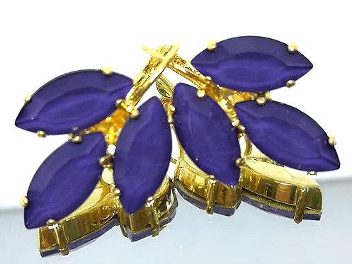סגול חציל  אבנים: אקוורל  מתנה בשבילה, עגילי דמעה, מתנה לכלה, עגילי עלים, Model # 523