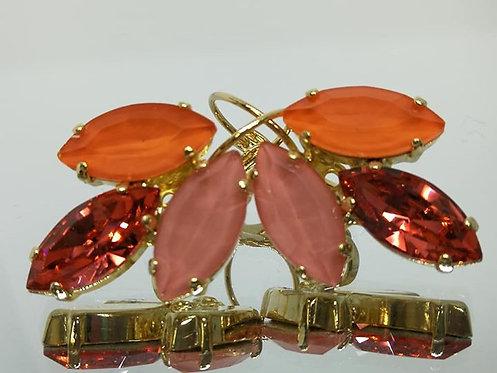 Model # 464 כתום , לוטוס , לוטוס  אבנים:קריסטל וקריסטל סברובסקי  עגילי אקריל, מתנה בשבילה, מתנה לכלה, עגילי עלים, עגילי דמעה,