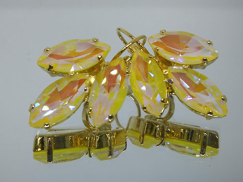 צהוב AB.  אבנים: קריסטל AB.  עגילי קריסטל AB, מתנה בשבילה, Model # 433