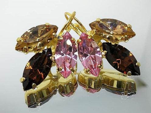 Model # 420 טופז, חום כהה, ורוד בייבי  אבנים: סברובסקי  מתנה בשבילה, מתנה לכלה, עגילי עלים