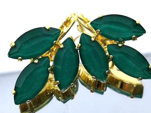 ירוק בקבוק  אבנים: אקוורל  מתנה בשבילה, עגילי דמעה Model # 522