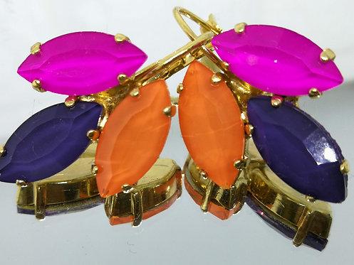 פוקסיה, סגול חציל, כתום.  אבנים: קריסטל אקוורל.  מתנה בשבילה, מתנה לכלה, # Model 717