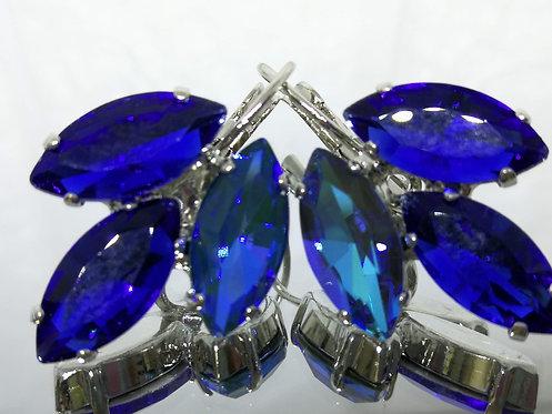 כחול ספיר  אבנים: קריסטל , הזוהר הצפוני.  מתנה בשבילה, עגילי דמעה, Model # 610