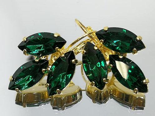 Model # 407 ירוק אמרלד/ברקת.  אבנים: סברובסקי.  מתנה בשבילה, מתנה לכלה, עגילי עלים, עגילי טיפה,