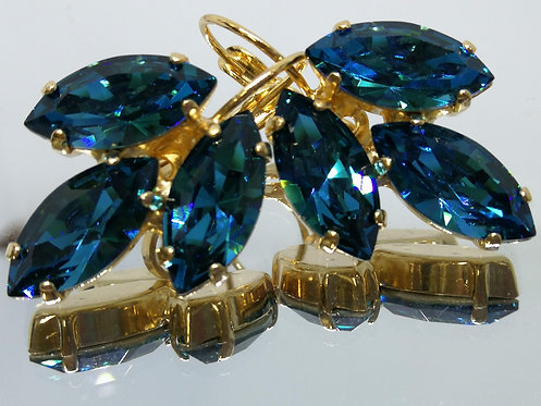 Model # 465 טורקיז כהה  אבנים: סברובסקי  מתנה בשבילה, מתנה לכלה, עגילי עלים, עגילי דמעה,