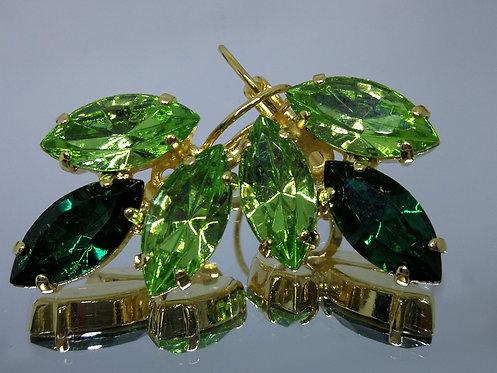 Model # 440 ירוק בהיר, ירוק איזמרגד, ירוק בהיר .  אבנים: סברובסקי.  מתנה בשבילה,מתנה לכלה, עגילי עלים,