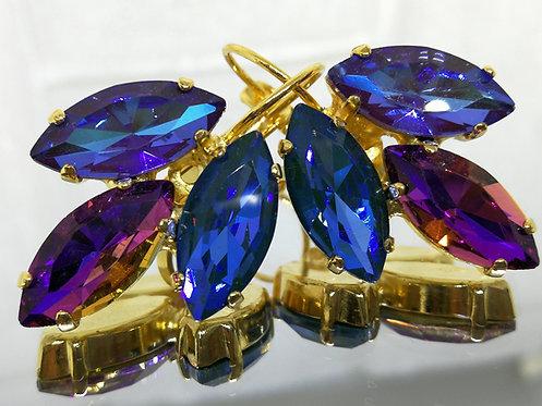 # Model 595 סגול חציל AB, סגול צבע מתחלף AB' כחול זית AB  אבנים: קריסטל AB  מתנה בשבילה,מתנה לכלה,