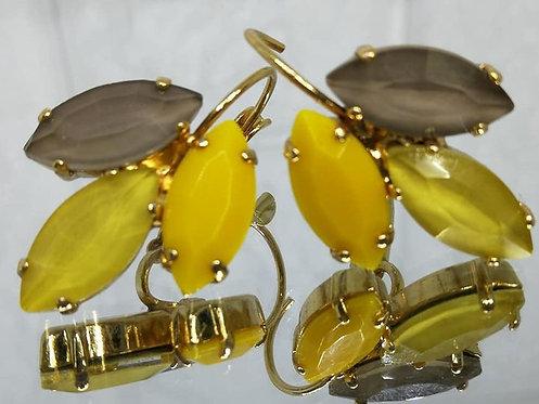 # Model 713 טופז, צהוב חרדל, חרדל.  אבנים: קריסטל אקוורלים ואקריל.  מתנה בשבילה, מתנה לכלה