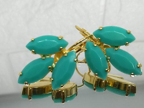 טורקיז ים  אבנים: אקריל  מתנה בשבילה, עגילי דמעה,Model # 547 טורקיז ים  אבנים: אקריל