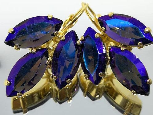 Model # 482 תה  אבנים: קריסטל.  מתנה בשבילה, עגילי דמעה,  מתנה לכלה, עגילי עלים, עגילים בתליה, עגילי נשים,