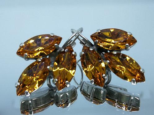 Model # 612 חלודה/ קוניאק  אבנים: סברובסקי  עגילי סברובסקי, מתנה בשבילה, עגילים בתליה, מתנה לכלה, עגילי עלים