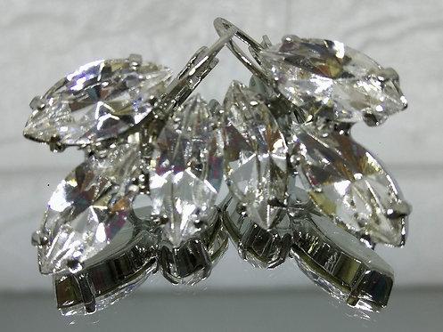Model # 604 קריסטל שקוף  אבנים: סברובסקי  עגילי סברובסקי, מתנה בשבילה, מתנה לכלה, עגילי עלים, עגילי טיפה,