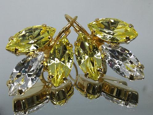 Model # 514 צהוב בהיר, שקוף, צהוב בהיר.  אבנים: סברובסקי  עגילי סברובסקי, מתנה בשבילה, מתנה לכלה, עגילי עלים,