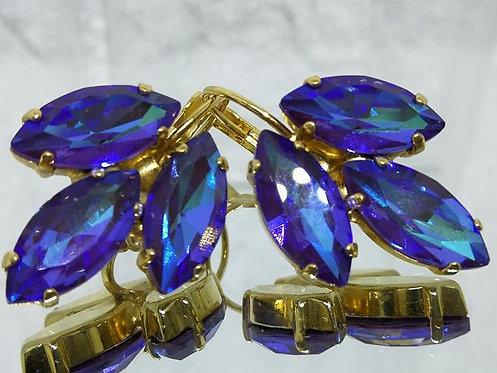 Model # 583  כחול חציל  אבנים: קריסטל AB.  מתנה בשבילה,קריסטל AB, מתנה לכלה, עגילי עלים, עגילי טיפה,