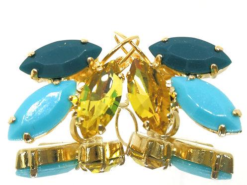 מצופים ב-זהב - נטול ניקל פטרול, טורקיז, צהוב שקוף.  אבנים: אקריל וקריסטל.Model # 579