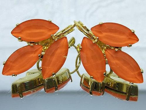 כתום  אבנים: אקוורל  מתנה בשבילה, עגילי דמעה,  מתנה לכלה, עגילי עלים, Model # 529