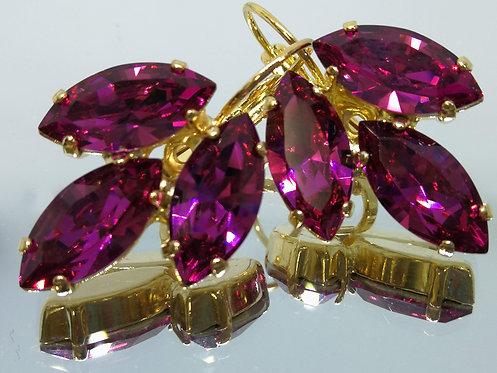 Model # 473 פוקסיה  אבנים: סברובסקי  עגילי סברובסקי, מתנה בשבילה, מתנה לכלה, עגילי עלים,עגילי דמעה