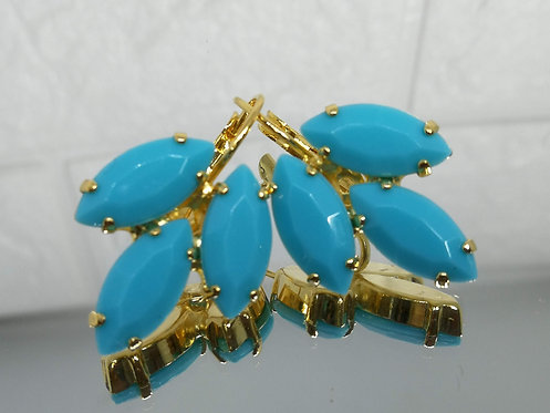 Model # 548 טורקיז תכלת  אבנים: אקריל  מתנה בשבילה, עגילי דמעה,nתנה לכלה, עגילי עלים,