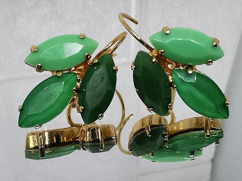 ירוק מנטה, אמרלד, וירוק בקבוק.  אבנים: קריסטל ואקריל.  מתנה בשבילה  #Model 740