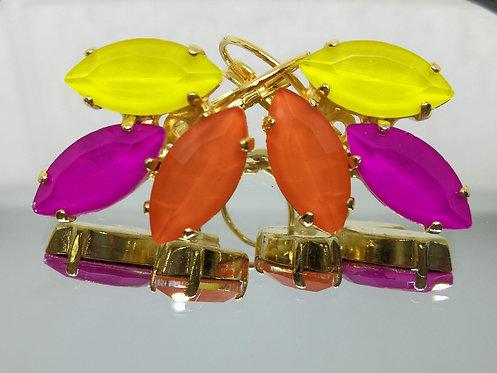 צהוב לימון , פוקסיה, כתום.  אבנים: קריסטל אקוורל.  מתנה בשבילה, עגילי דמעה ,Model # 550