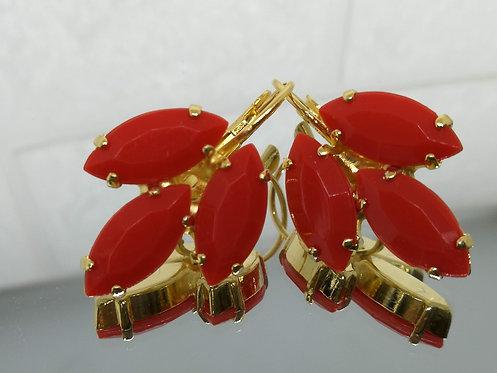 אדום  אבנים: אקריל  מתנה בשבילה, עגילי דמעה,Model # 536