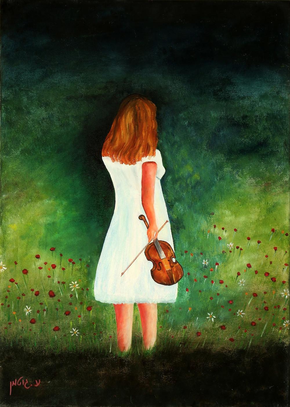ציור של עליזה גוטמן נערה וכינור.