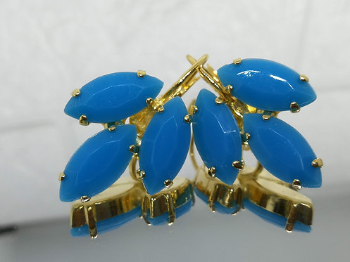 Model # 541 כחול  אבנים: אקריל  מתנה בשבילה, עגילי דמעה, מתנה לכלה, עגילי עלים, עגילים בתליה, עגילי נשים,