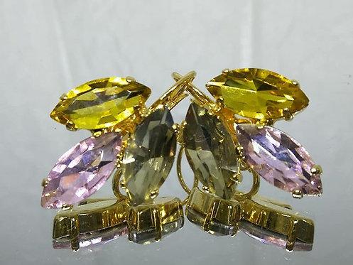 אבנים: שמפניה צהובה,ורודה, טופז.  אבני קריסטל  מתנה בשבילה, עגילי דמעה, Model # 515