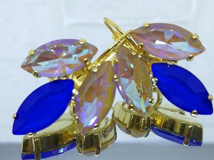 וכחול רויאל אקוורל, עגילי טיפה, עגילים יפים לנשים AB עגילים מצופים בזהב נטול ניקל, חום