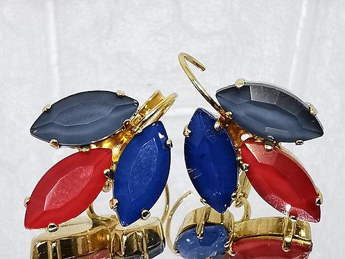 #Model 745 בלאק דימונד, אדום , כחול.  אבנים: קריסטל אקוורל.  מתנה בשבילה, מתנה לכלה, עגילי עלים