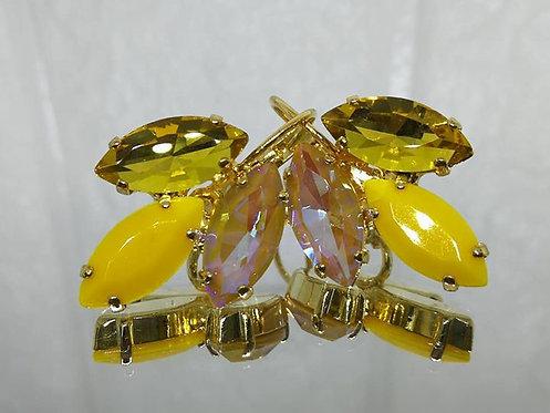 צהוב, חרדל אטום, חום בהיר.  אבנים: קריסטל ואקריל  מתנה בשבילה, עגילי דמעה,Model # 507