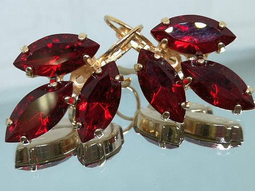 ארגמן  אבנים: סברובסקי  מתנה בשבילה, עגילי רטרו, עגילי וינטאג' סטייל, Model # 306