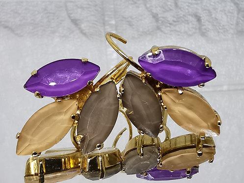 סגול לילה, אפרסק, טופז כהה.  אבנים: קריסטל אקוורל.  מתנה בשבילה, מתנה לכלה, עגילי עלים