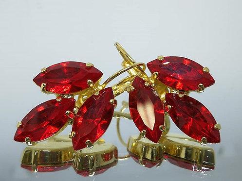 אדום סיאם  אבנים: סברובסקי  מתנה בשבילה, מתנה לכלה, עגילי עלים, Model # 429
