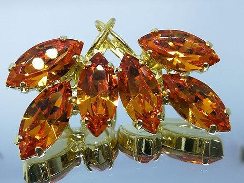Model # 408  כתום  אבנים: סברובסקי  מתנה בשבילה, מתנה לכלה, עגילי עלים, עגילי טיפה