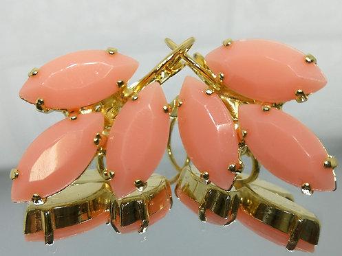 ורוד וינטאג'  אבנים: אקריל  מתנה בשבילה, עגילי דמעה, מתנה לכלה, עגילי עלים, Model # 544