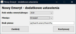 """Dekretator - dodatkowe ustawienia zakładki """"Nowy emeryt"""""""