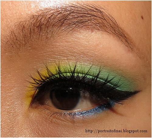 Yellow and Green Eye Makeup: