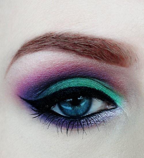 Dark Green and Purple Eyes: