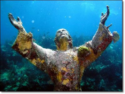Christ covered with corals