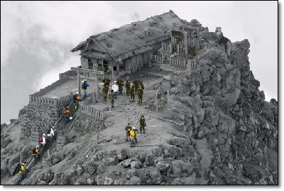 Temple covered with ash