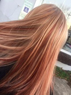 Blonde highlights and peek a boo copper red lowlights
